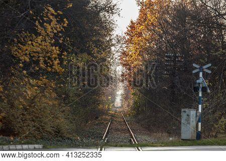 Selective Blur On A Straight Line Of A Railway Track, Neglected And Abandoned, Surrounded By Romanti