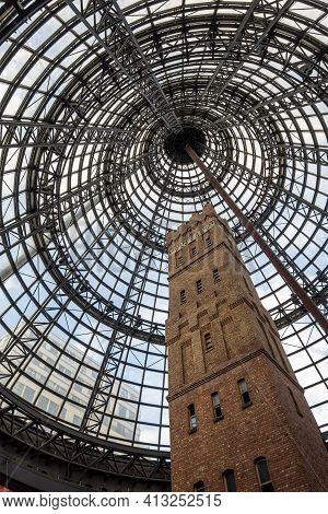 Melbourne, Australia - May 13, 2019: The Historic Coop's Shot Tower (50m) Preserved For The Public A