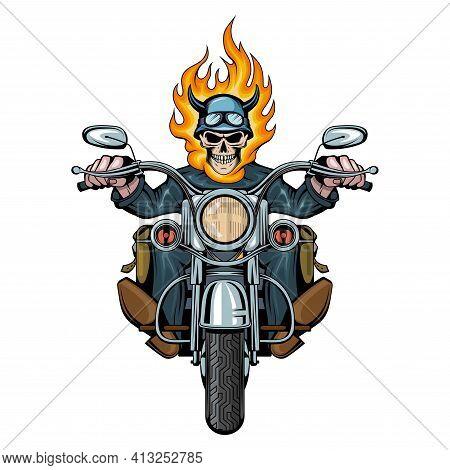 Burning Skull. Evil Person. Skull Biker Sits On A Bike. Skull Riding A Motorcycle. Tattoo. Biker Par