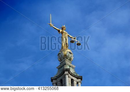 Central Criminal Court In London, Uk. Old Bailey. Court Of Law In London.