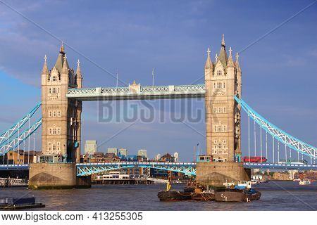 Tower Bridge - Landmark In London Uk. Old London Landmarks. Red Doubledecker Bus On Bridge.