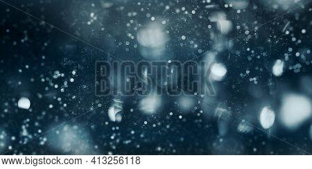 3d Illustration Blue Bokeh Blurry Bokeh With Flashing Stars Blurry Bokeh