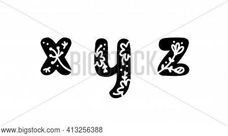Vintage Floral Bold Letters X Y Z Logo Spring. Classic Summer Letter Design Vectors With Black Color
