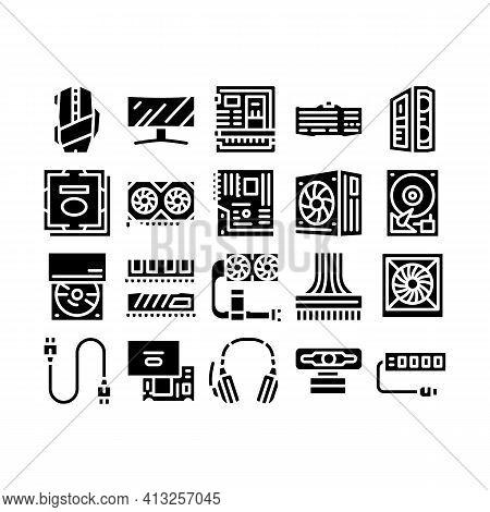Computer Technology Glyph Set Vector Illustration Flat