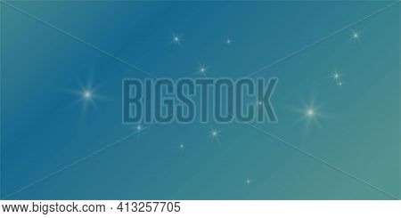 Turquoise Blue Sapphire Gradient Colorful Bright Background With Stars Flare Glare Lights. Vector Il