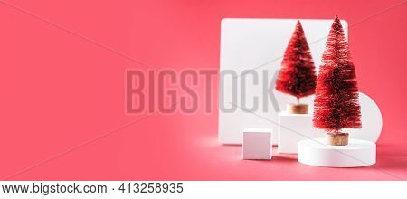 White Product Stand, Zero Waste Fir-trees In Minimal Style On Red Background. New Year, Christmas Mo
