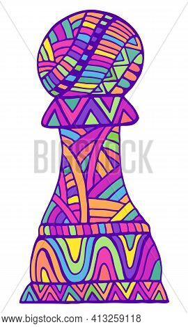 Vivid Pawn Chess Piece With Decorative Abstract Patterns Doodle Style, Isolated On White.