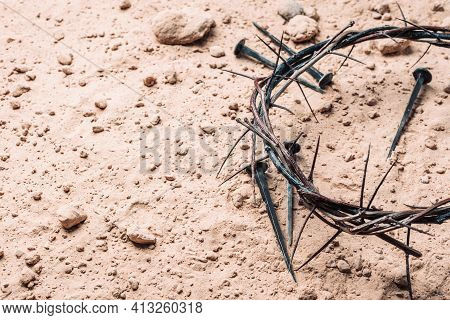 Good Friday, Passion Of Jesus Christ. Crown Of Thorns And Bloody Nails On Ground. Christian Easter H