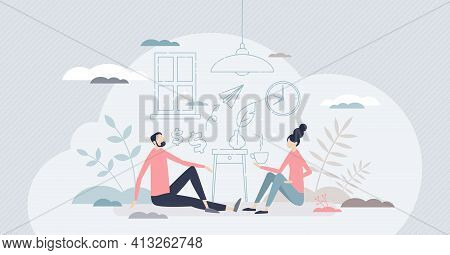 New Family Home And Interior Design Imaginary Planning Tiny Person Concept