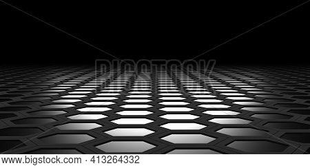 Hexagonal Area Hexagon Nest Abstract Geometry Hexagonal Steel Material Technology Floor Sheet 3d Ill
