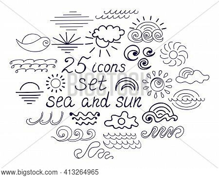 Summer Doodle Logo Sea And Sun. Wave Ocean Hand Drawn Elements Isolated On White. Cartoon Simple Clo