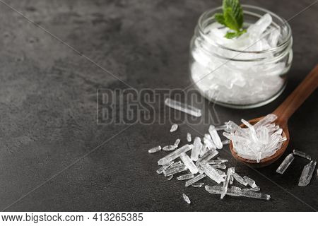 Menthol Crystals On Grey Background. Space For Text