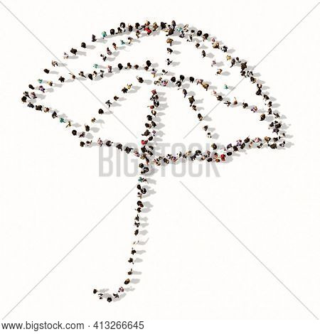 Concept or conceptual large gathering of people forming an image of opened umbrella on white background. A 3d metaphor for protection, security and comfort,  tourism, fashion and style