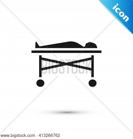 Grey Dead Body In The Morgue Icon Isolated On White Background. Vector
