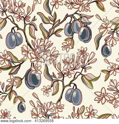 Seamless Pattern With Plums Fruits And Flowers, Buds, Leaves. Vintage Flowering Branch With Plums. I