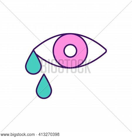 Crying Rgb Color Icon. Reducing Stress Levels. Shedding Tears. Mood Regulation. Physical And Mental