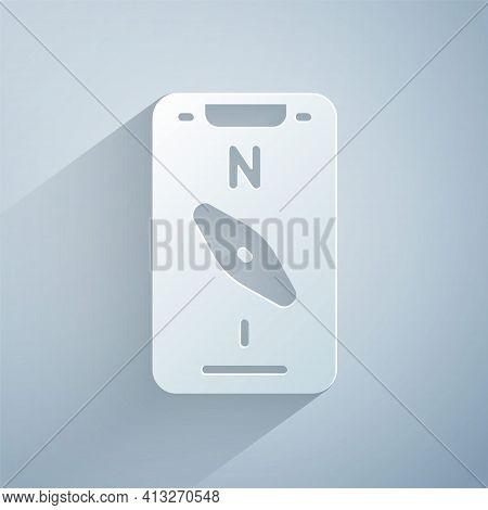 Paper Cut Compass Screen Apps On Smartphone For Navigation Icon Isolated On Grey Background. Applica