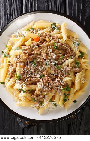 Genovese Sauce Or La Genovese Napoletana Made With A Slow Cooked Onions, Beef And White Wine Served
