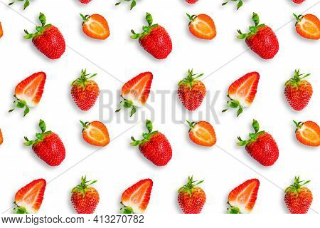 Fresh Ripe Strawberries Seamless Pattern. Strawberries And Strawberry Slices Isolated On White Backg