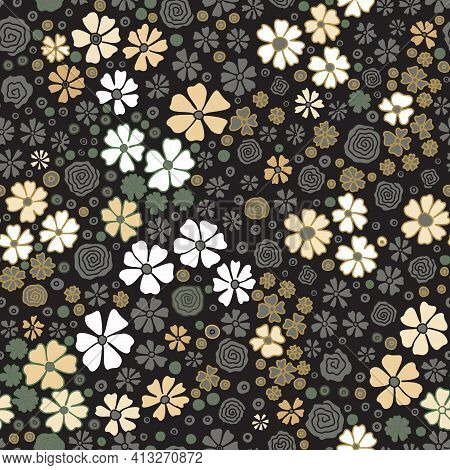 Seamless Pattern With Small Drawn Meadow Flowers. Cute Gold, Brown, White, Floral Background With Kh