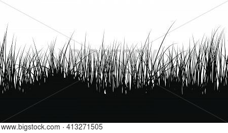 Meadow Grass Seamless Background. Cute Clean And Smooth Meadow Grass Border Design In Black Colors.