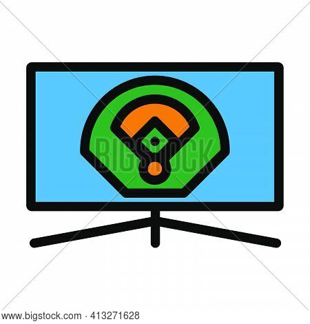 Baseball Tv Translation Icon. Editable Thick Outline With Color Fill Design. Vector Illustration.