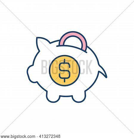 Savings Account Rgb Color Icon. Earning Interest. Regular Money Saving. Household Budget. Interest-b