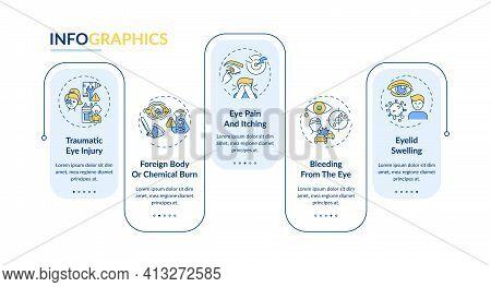 Emergency Eye Exam Reasons Vector Infographic Template. Chemical Burn Presentation Design Elements.