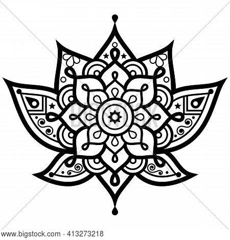 Lotus Flower With Mandala Vector Design - Yoga, Zen, Buddhism, Meditation, Mindfulness Concept