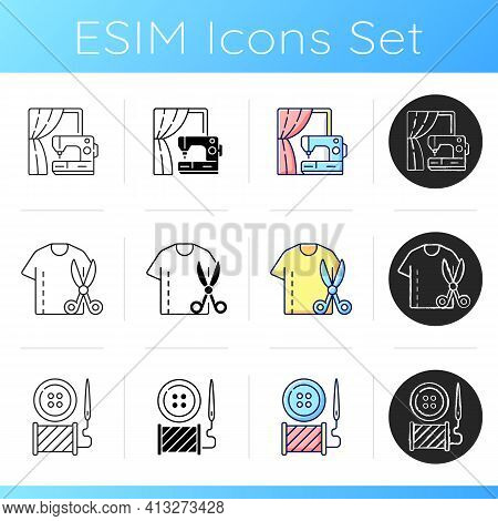 Sewing Services Icons Set. Curtain Repair On Sewing Machine. Resizing Shirts. Button Replacement. Ne