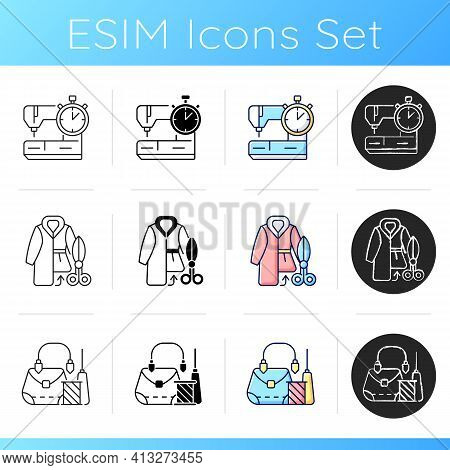 Clothing Alteration Service Icons Set. Same Day Sewing. Fur Coat Restoration. Leather Bag And Access
