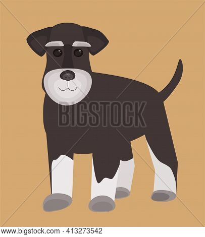 Vector Dog Cute Miniature Schnauzer With Background