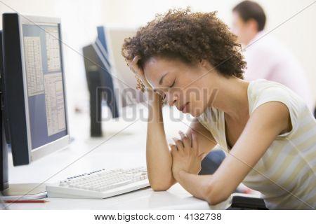 Woman In Computer Room Sleeping