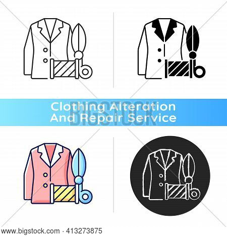 Custom Suits And Shirts Black Linear Icon. Professional Tailor Studio. Garment Restoration. Clothing