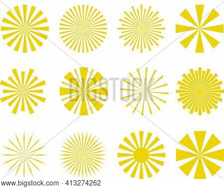 Collection Of Abstract Sun Rays. Set Of Summer Vector Sunray Illustration For Design
