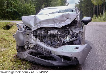 Car Accident On A Road, Collision With A Heavy Truck