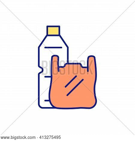 Plastic Bottle And Bag Rgb Color Icon. Impact Of Harmful Emissions On Climate Change. Lengthy Decomp
