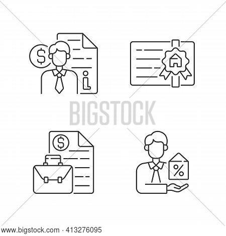 Broker Linear Icons Set. Finance Advisor Consultation. Broker License. Business Management. Customiz