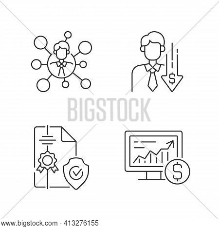 Brokerage Service Linear Icons Set. Broker Connection. Financial Recession. Intellectual Property. C