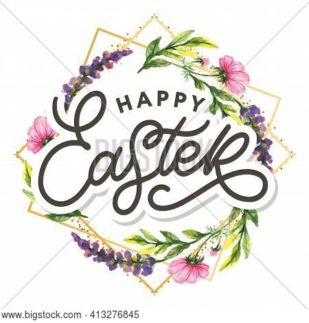 Happy Easter Hand Sketched Logotype, Badge Typography Icon. Lettering Happy Easter With Flowers For