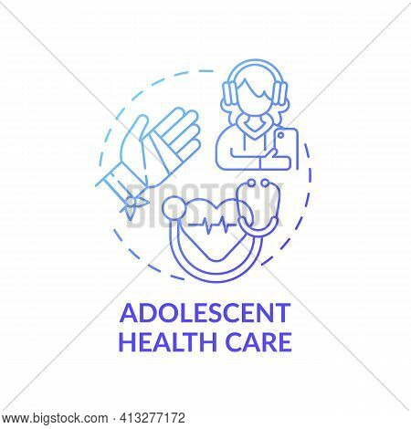 Adolescent Health Care Blue Gradient Concept Icon. Professional Medical Support For Teenage Patient.