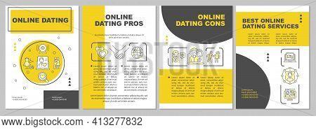 Online Dating Brochure Template. Online Dating Cons. Flyer, Booklet, Leaflet Print, Cover Design Wit