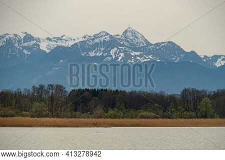 View From Simssee, A Lake In Bavaria, Germany, To Wendelstein, A Famous Peak