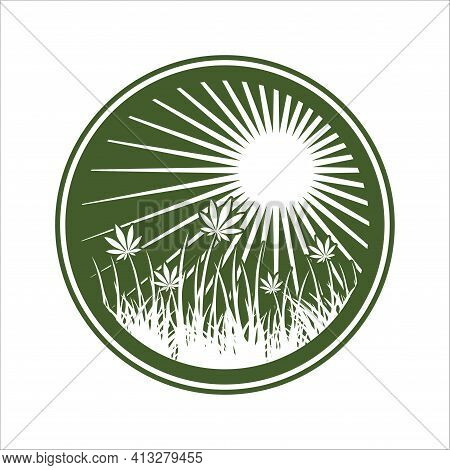 Agriculture Wholesale Retail Cannabis Grown, Greenhouse Grown. This Logo Can Be Use For Cannabis Lab