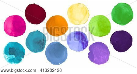 Bright Colorful Watercolor Circles. Set Of Hand Paint Ink Spots. Stroke Dots Drawing. Colorful Water