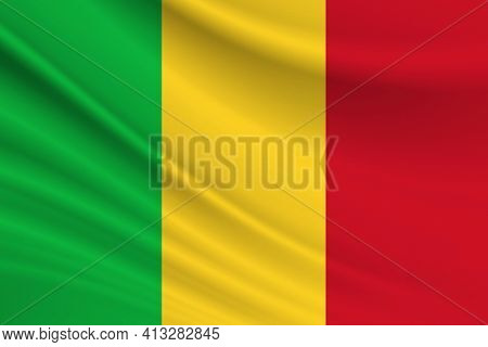 Flag Of Mali. Fabric Texture Of The Flag Of Mali.