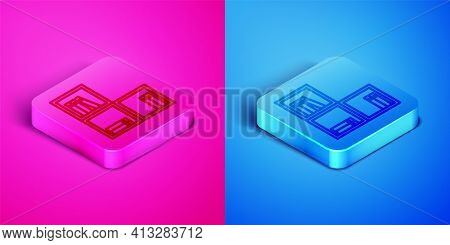 Isometric Line Shelf With Books Icon Isolated On Pink And Blue Background. Shelves Sign. Square Butt