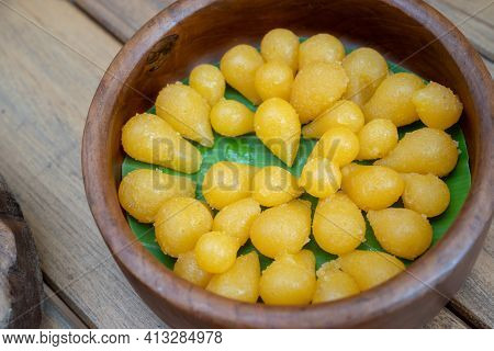 Thong Yod Dessert From Thailand, Egg Yolk, Sugar, And Flower Water Are Boiled In Sugar Syrup And For