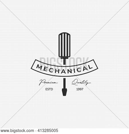 Minimalist Screwdriver Logo, Toolkit Illustration Vintage Vector, Mechanical Concept Design