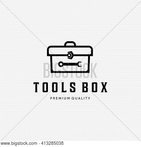 Toolbox Equipment Logo, Illustration Line Art Of Wrench Spanner Box Vector. Mechanical Equipment Des